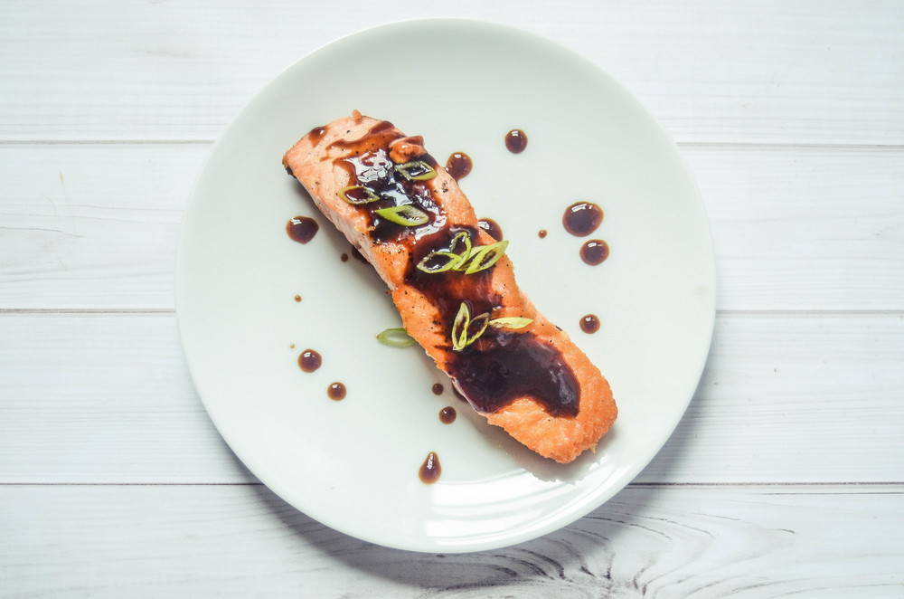 salmon with soy and black vinegar reduction