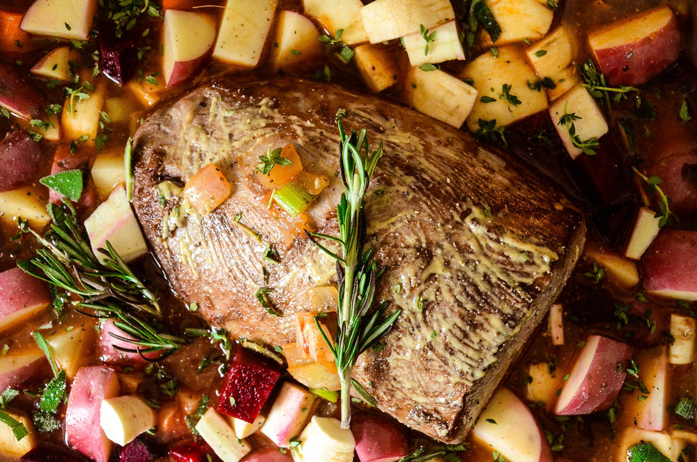 mustard-brushed pot roast with cider and horseradish
