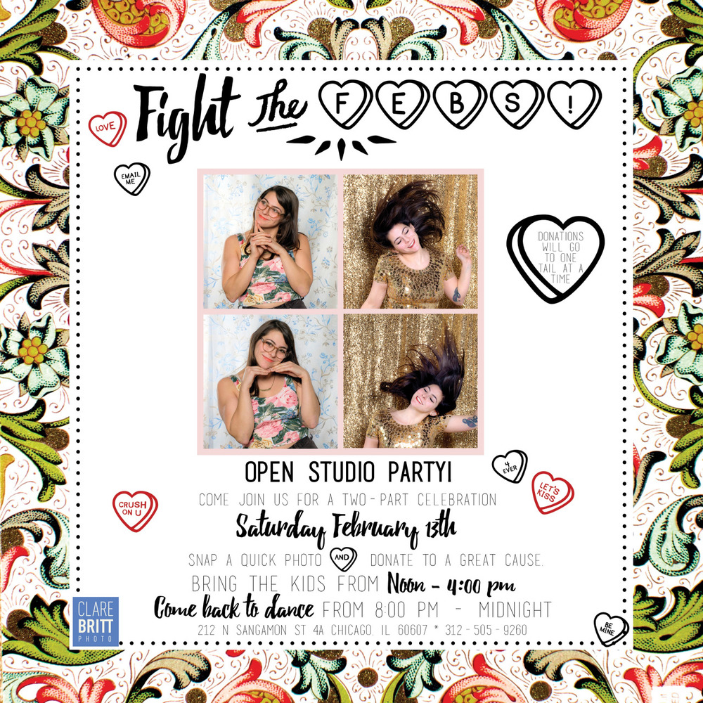 SAVE THE DATE! Come celebrate winter time with Multiple Photo Booths and Dance Party Saturday Feb 13th.   It's a New Year. You need a 2016 Profile Pic.     #fightthefebs #photobooth #dancedancedance #danceparty #valentinesweekend #hearts #openstudio #clarebrittphoto #onetailatatime #dog #kidswelcome #profilepic #newyearnewyou