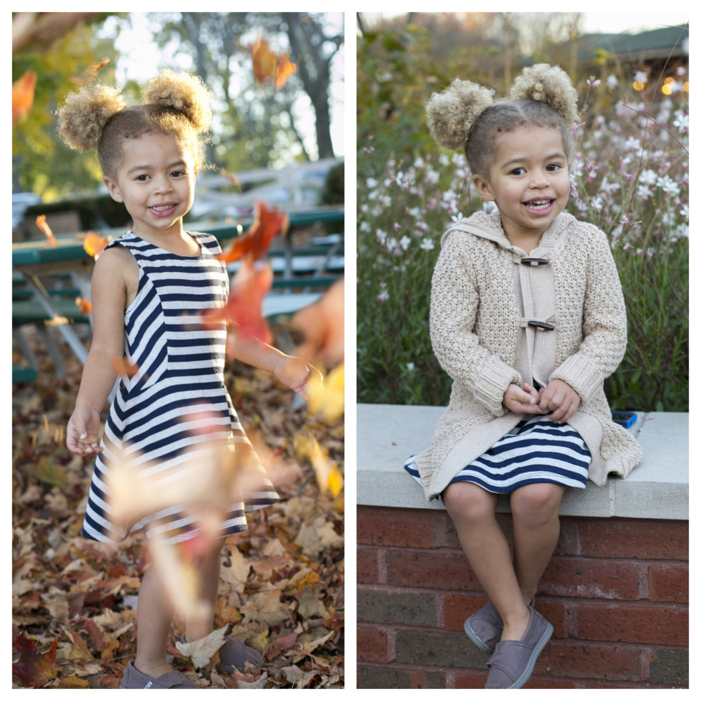 Beautiful Evelyn enjoying the fall leaves at the petting zoo and the flowers at Cafe Brauer in Lincoln Park. ©ClareBrittPhoto