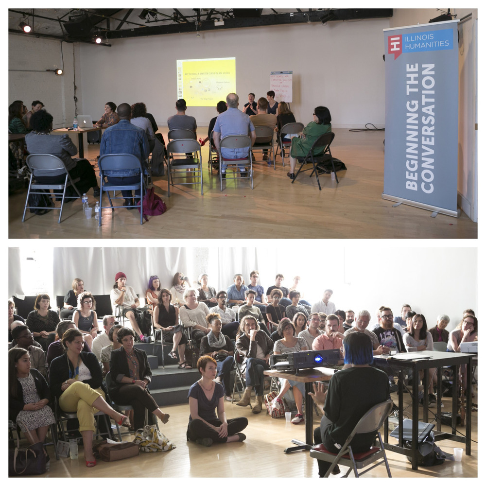 """Master class with Christine Sun Kim and Danielle Linzer and performance of """"Fingertap Quartet"""" with the Illinois Humanities at Links Hall. ©Clare Britt Photo"""