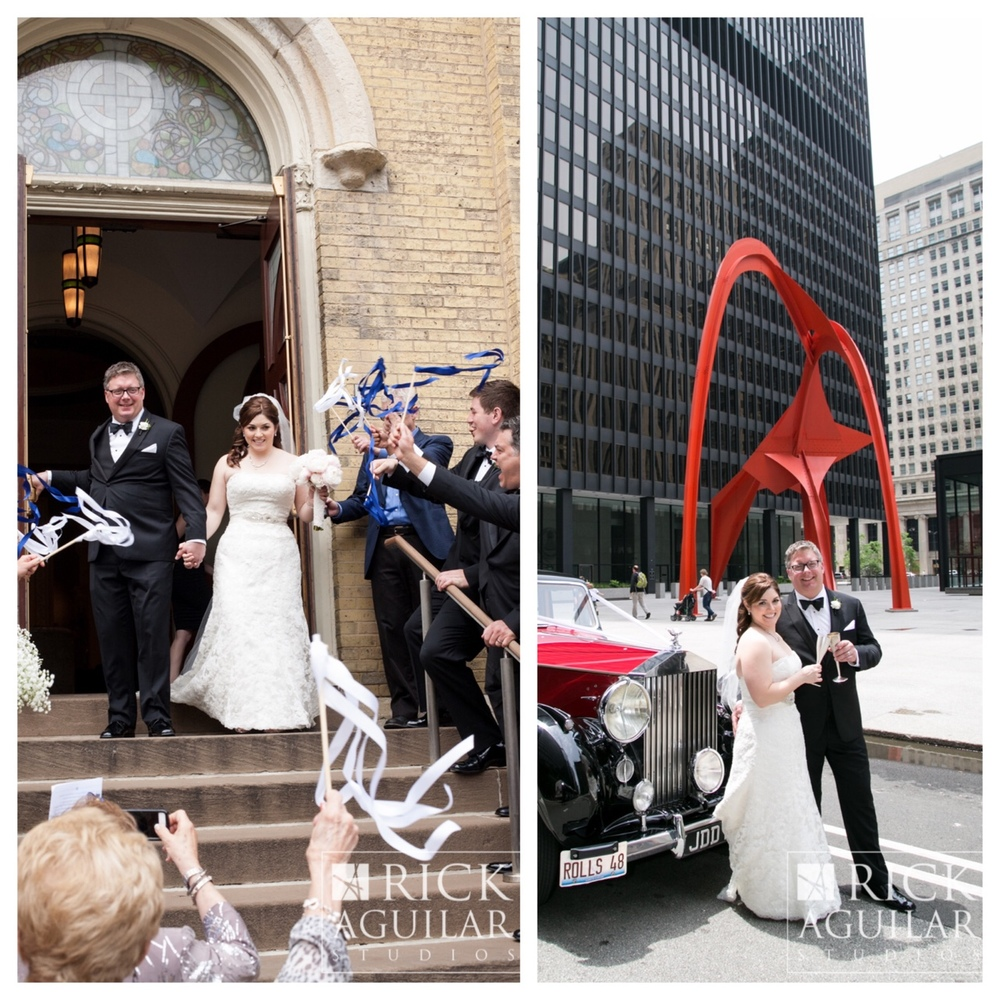 June 20, 2015 Marybeth and Joe got married at Old St Pats with a photo safari and champagne  toast at Federal Plaza in the BlackHawks colored Rolls Royce.     Clare Britt for © Rick Aguilar Studios