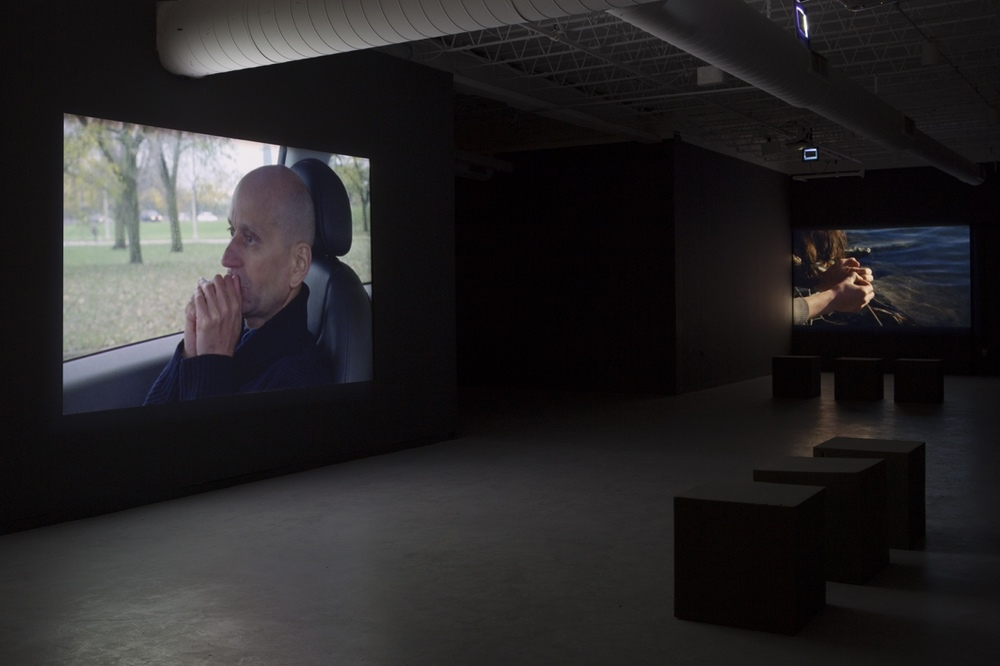 "Install view of video work ""The Latest Sun is Sinking Fast"" by Melika Bass on view through April 19 at the Hyde Park Art Center.   #melikabass #HPAC     © Clare Britt Photo"