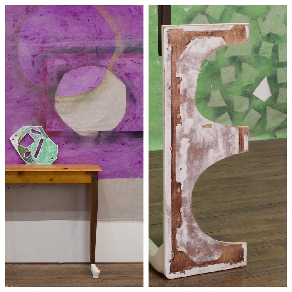Leslie Baum and Allison Wade collaborated on the Drunken Geometry installation at Devening Projects.    © Clare Britt Photo     #deveningprojects #chicagoart #drunkengeometry #baumandwade