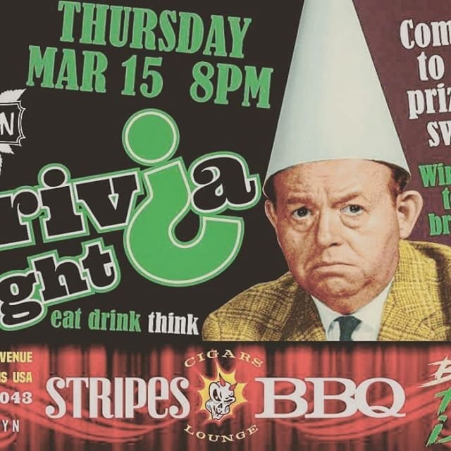 Tonight at @cigarsandstripes !!! Trivia starts at 8pm but we'll be hanging out all night. #exerciseyourmind