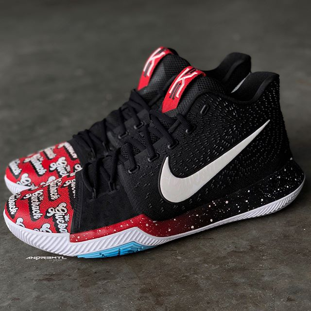 """""""The Giveback"""" Kyrie 3 PE. If you're in the NYC area TODAY you do not want to miss out on the charity event @tmarkgotkickss is hosting for the kids. This 1 of 1 custom """"The Giveback"""" PE I designed and created will be given away to the kid (boy or girl) with the highest GPA in the gym at the event. This pair was created using an actual Kyrie 3 PE. Again if you're in NYC pull up and show some love for a great cause and what's sure to be a great event 🤘 #TheGiveback"""