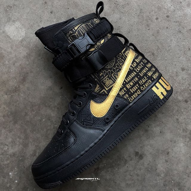 """Its been a while since I've made a AF1 custom. This """"Black History"""" pair has ended that drought. Very fun pair to work on these the client wanted to create a custom that honored his Dad who was part of the civil rights movement by featuring some of the prominent members of the Black Panther Party. While at the same time showing love to his favorite movie Marvel's The Black Panther. Not to get the two confused as they have literally nothing to do with each other. Keeping the theme and detail train going we added in a African Adinkra symbol pattern to the upper as well as a subtle Wakandan pattern on the toe box and side panels. Tons of loud and subtle detailing throughout this pair."""