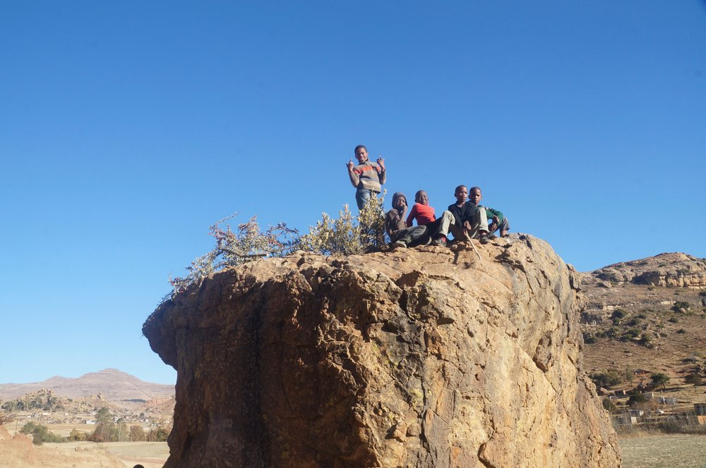 * A group of Basotho boys outside Butha Buthe joining the climbing scene.