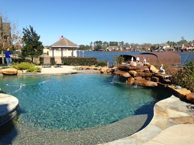Pool overlooking Lake Woodlands