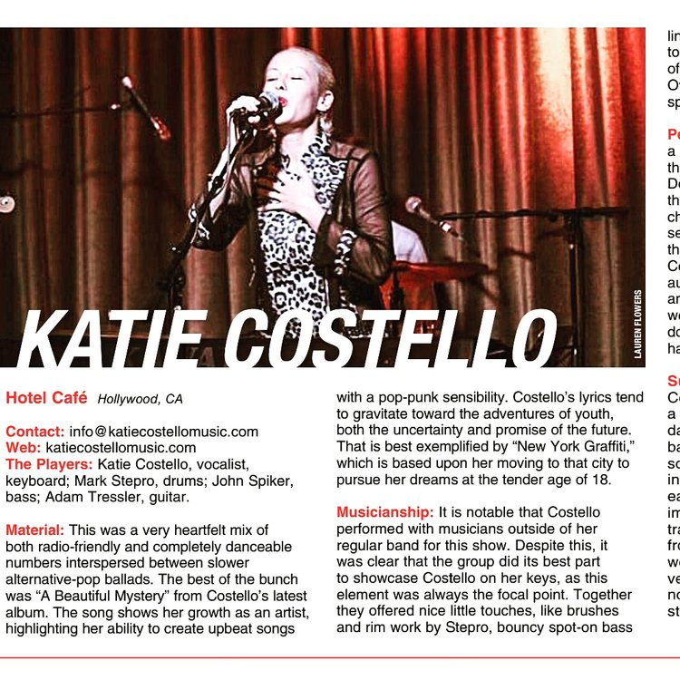 "Live Review in Music Connection Magazine - ""This was a very heartfelt mix of both radio-friendly and completely danceable numbers interspersed between slower alternative-pop ballads."""