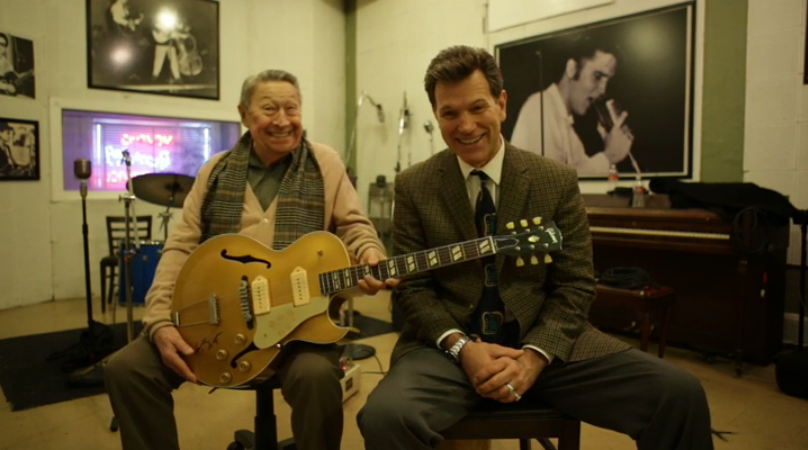 Scotty Moore and Chris Isaak! Scotty's holding the Gibson Reissue of Scotty's legendary Es-295!