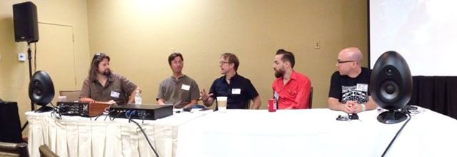Location Panel at Potluck 2014. Chris Ronan-Murphy, Pete Weiss, Michael Romanowski, Matt Ross-Spang and Brad Smalling