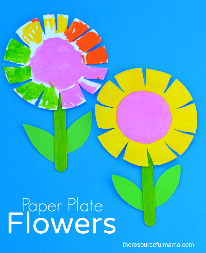 http://www.theresourcefulmama.com/paper-plate-flower-craft-for-kids/