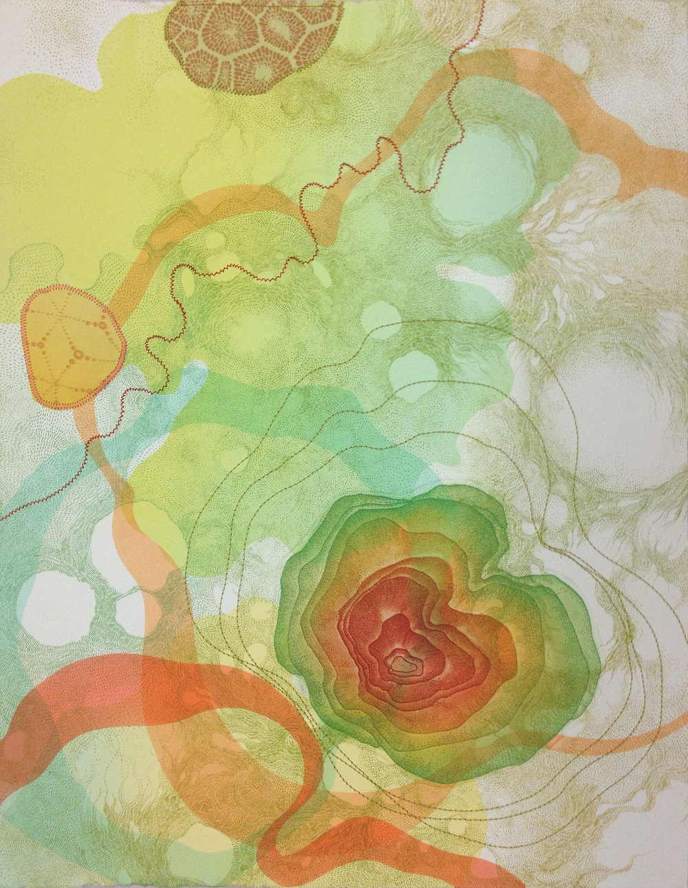 "The Concentric Nature of Color   Intaglio, silkscreen, machine-sewing  11x14""  2016   Included in the exchange portfolio Sensory Overload"