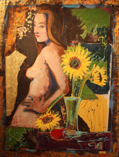 "Broken Sunflower: 52"" x 40"""