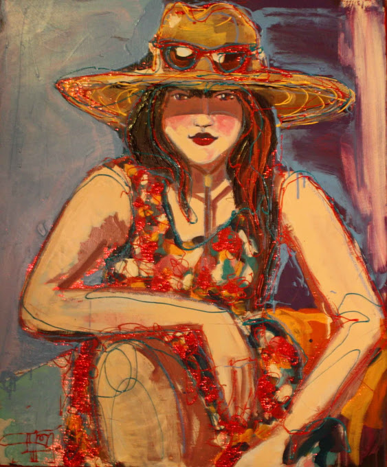 "Girl with Hat: 36"" x 30"""