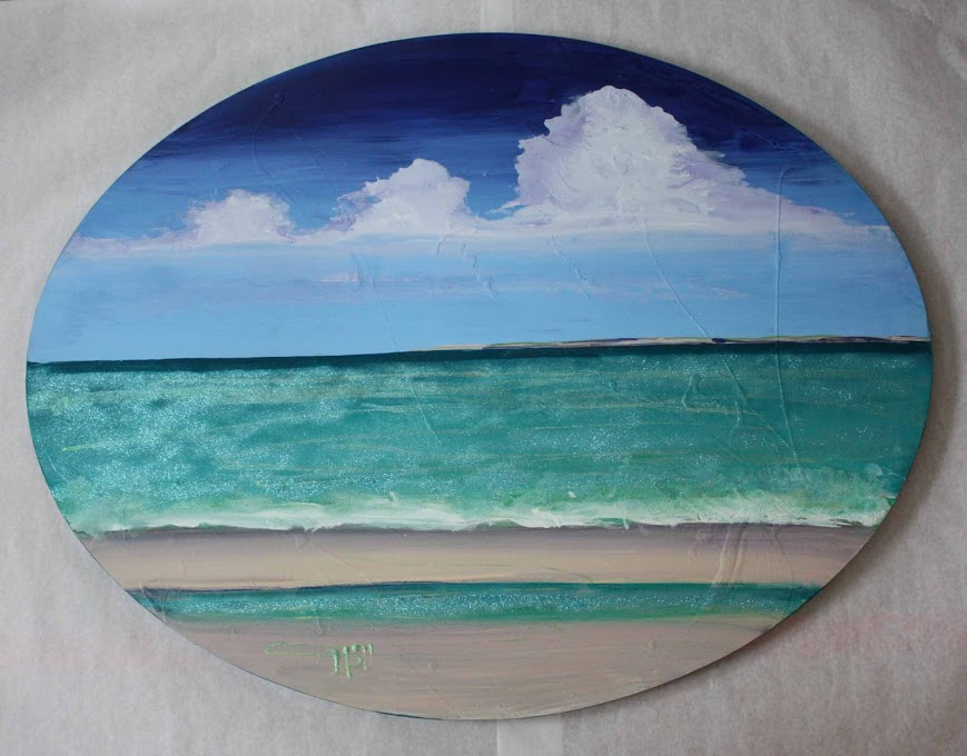 "Warm Oval Beach: 47"" x 36 1/2"""