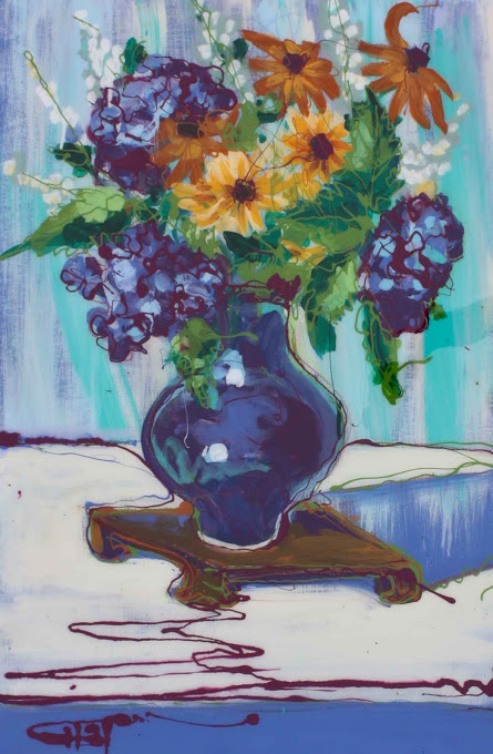 "Blue Vase Finished 36"" x 24"""