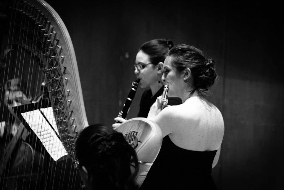 Performing Ravel's Introduction et Allegro for Harp, Flute, Clarinet, + String Quartet.