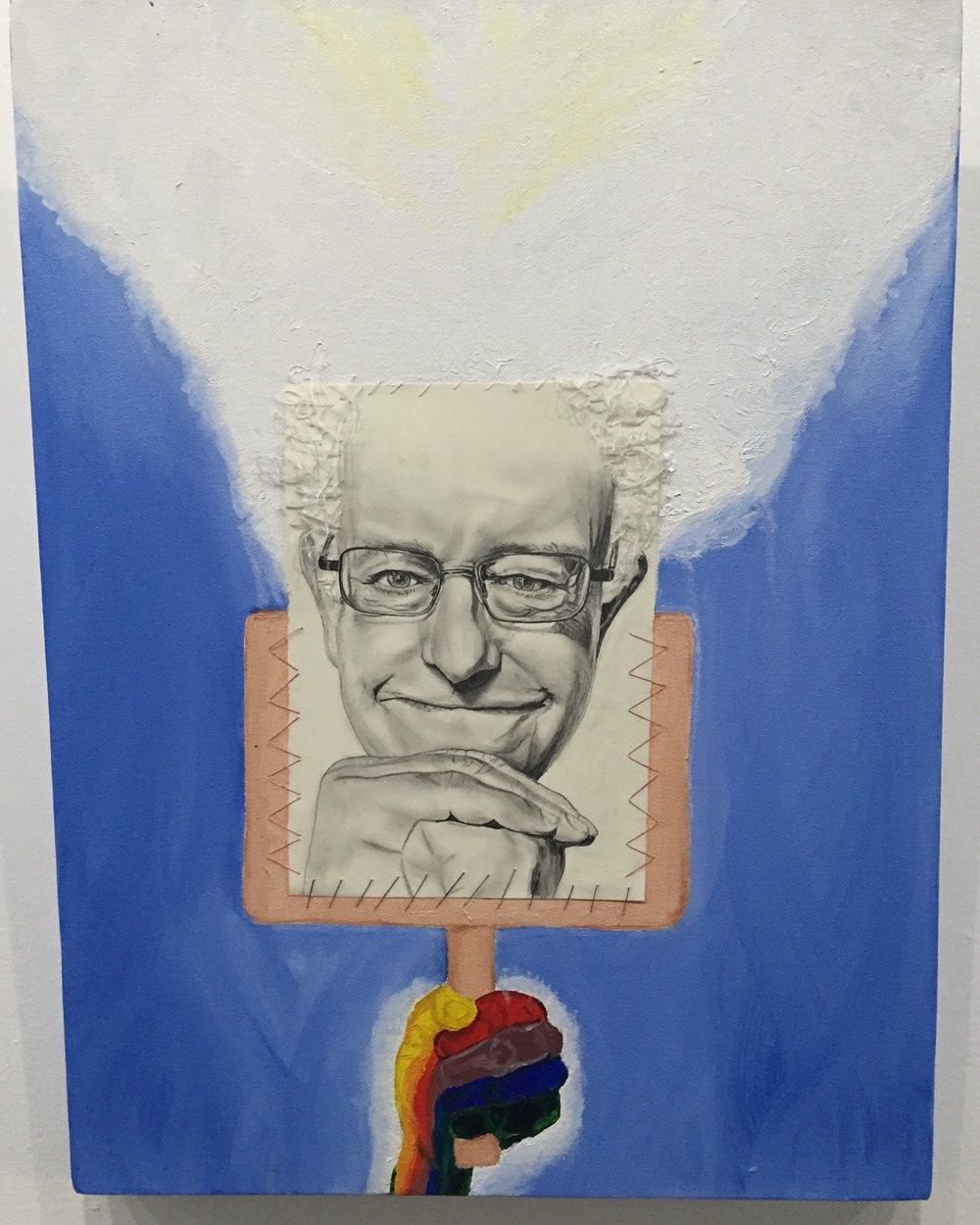 'Bernie On a Placard in the Sky' 2016. Oil on canvas, cotton embroidered pencil drawing.