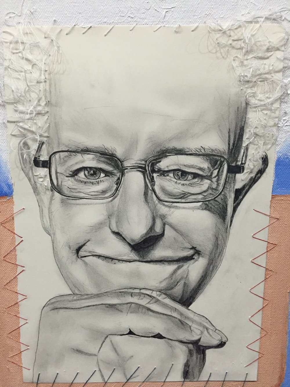 'Bernie On a Placard in the Sky' 2016 (detail). Oil on canvas, cotton embroidered pencil drawing.