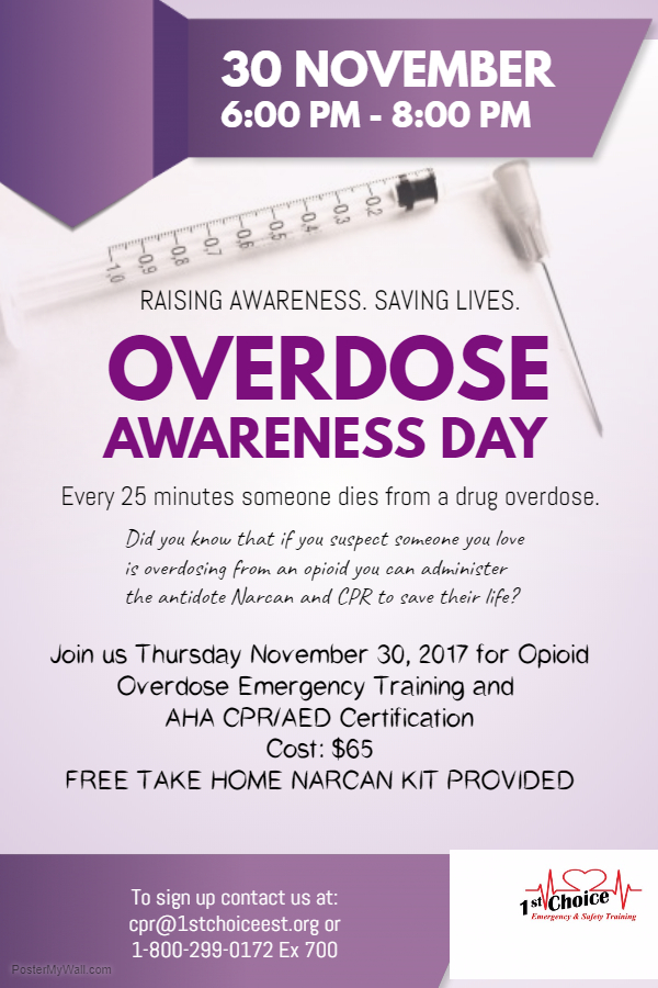 November 30 2017 Opioid Awareness Cpraed Certification