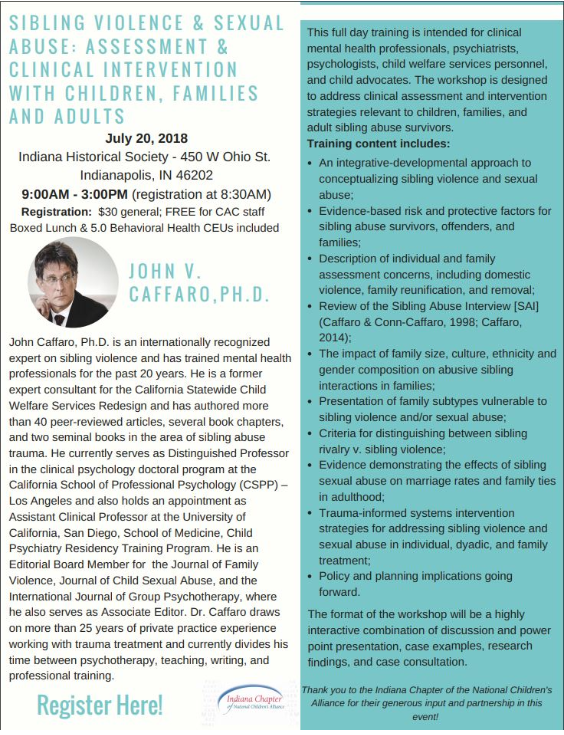 July 20, 2018-Sibling Violence & Sexual Abuse: Assessment & Clinical
