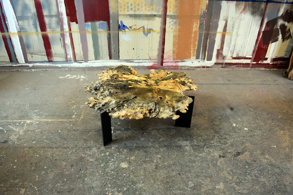 """Materials: Buckeye Burl and Steel   Slab Thickness: 2.25""""   Size (LxWxH): 42""""x43""""x16.25""""   Weight: 51 lbs."""