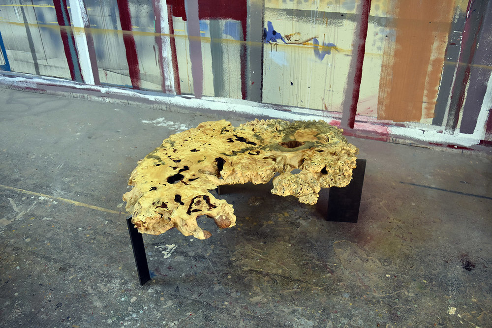 """Materials: Buckeye Burl and Steel   Slab Thickness: 2.25""""   Size (LxWxH): 33""""x46""""x16.25""""   Weight: 46 lbs."""