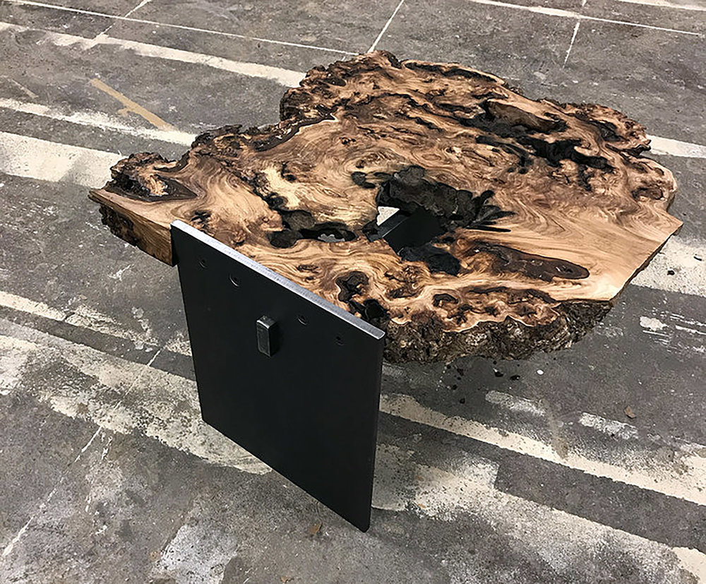 "Materials: Fir Burl and Steel     Slab Thickness: 3.2""     Size (  LxWxH  ): 23.5""x24.5""x14""     Weight: 66 lbs  ."