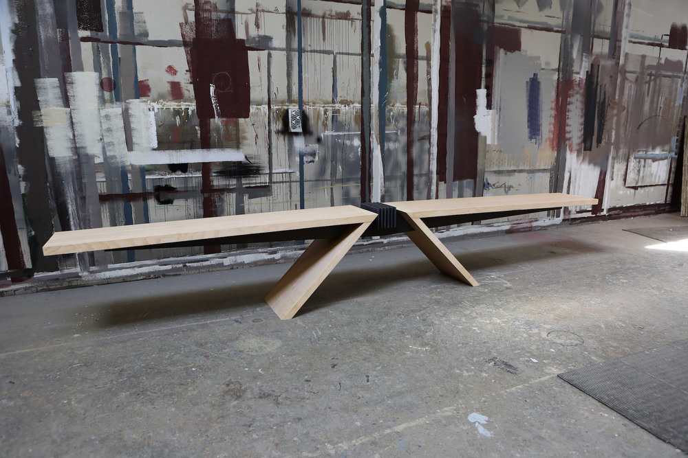 """Materials: Baltic Birch and Steel   Slab Thickness: 2""""   Size (LxWxH): 178""""x19""""x27""""   Weight: 416 lbs."""