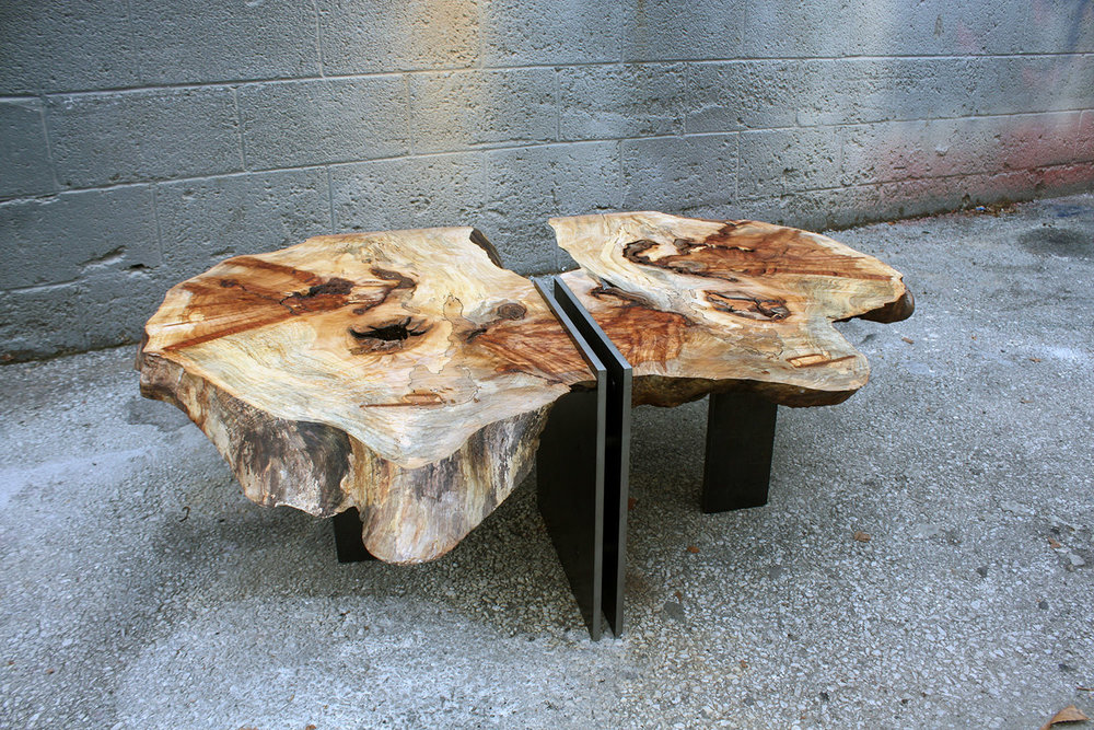 """Materials: Spalted Maple and Steel     Slab Thickness: 2""""     Size (  LxWxH  ): 36.6""""x43""""x14.5""""     Weight: 110 lbs  ."""
