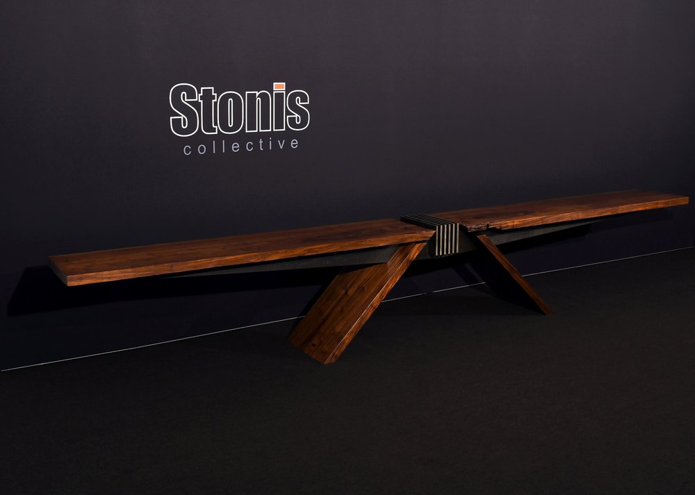 """Materials: Walnut and Steel     Slab Thickness: 2""""     Size (  LxWxH  ): 178""""x19""""x27""""     Weight: 426 lbs  ."""