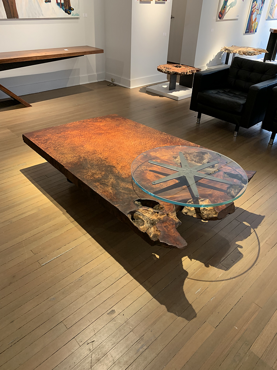 """Materials: Redwood, Steel and Glass   Slab Thickness: 3""""   Size (LxWxH): 73""""x44""""x15.5""""   Weight: 295 lbs."""
