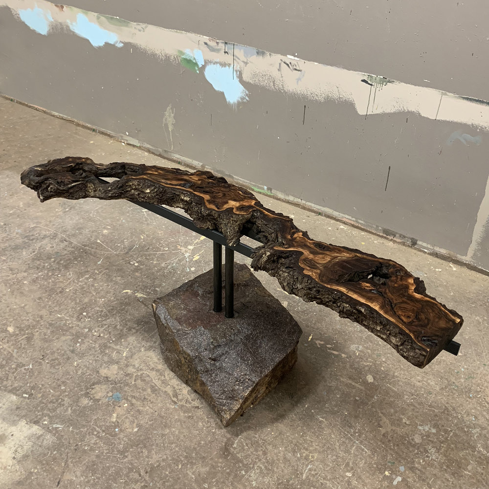 """Materials: Walnut, Trap Boulder and Steel   Slab Thickness:2.25""""   Size (LxWxH): 22""""x63""""x27""""   Weight: 325 lbs."""