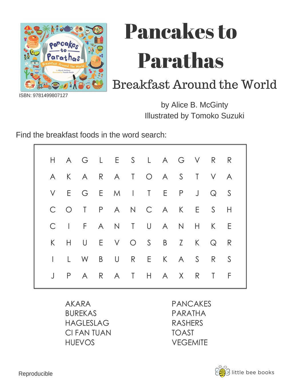 Pancakes to Parathas: Breakfast Around the World - Activities such as word-search, drawing, and matching game!