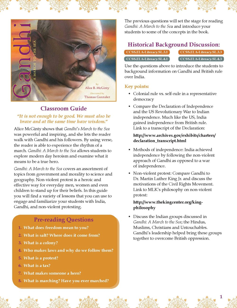 Gandhi: A March to the Sea - Includes writing exercises, lessons, discussions, and questions.