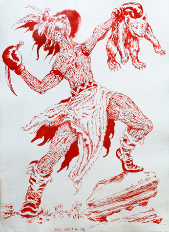 Indian. Shellac Ink on Paper. 33.5 x 26 inches, 2012.