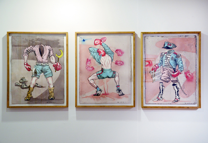 Installation View Locker Room Series, Locker Room I, II, III. Watercolor and Ink on pPaper. 33.5 x 26 inches, 2012.