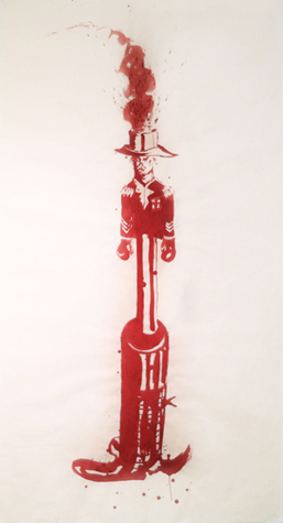 Gun. Dispersion on Paper. 72 x 39.5 inches, 2005.