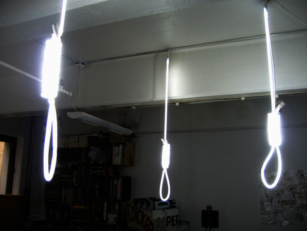 Necktie Party. Hand Bent Neon Tubes, Electrical Wire, and Hardware. Variable Dimensions, 2009.
