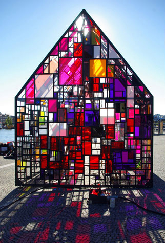 Kolonihavehus, Steel, Found Plexiglass, Paint. 12' x 12' x 14'.