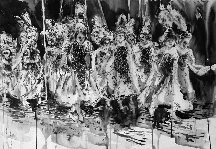 Das Ende der Jugend.Ink on Paper, 20 x 30 inches,2012.