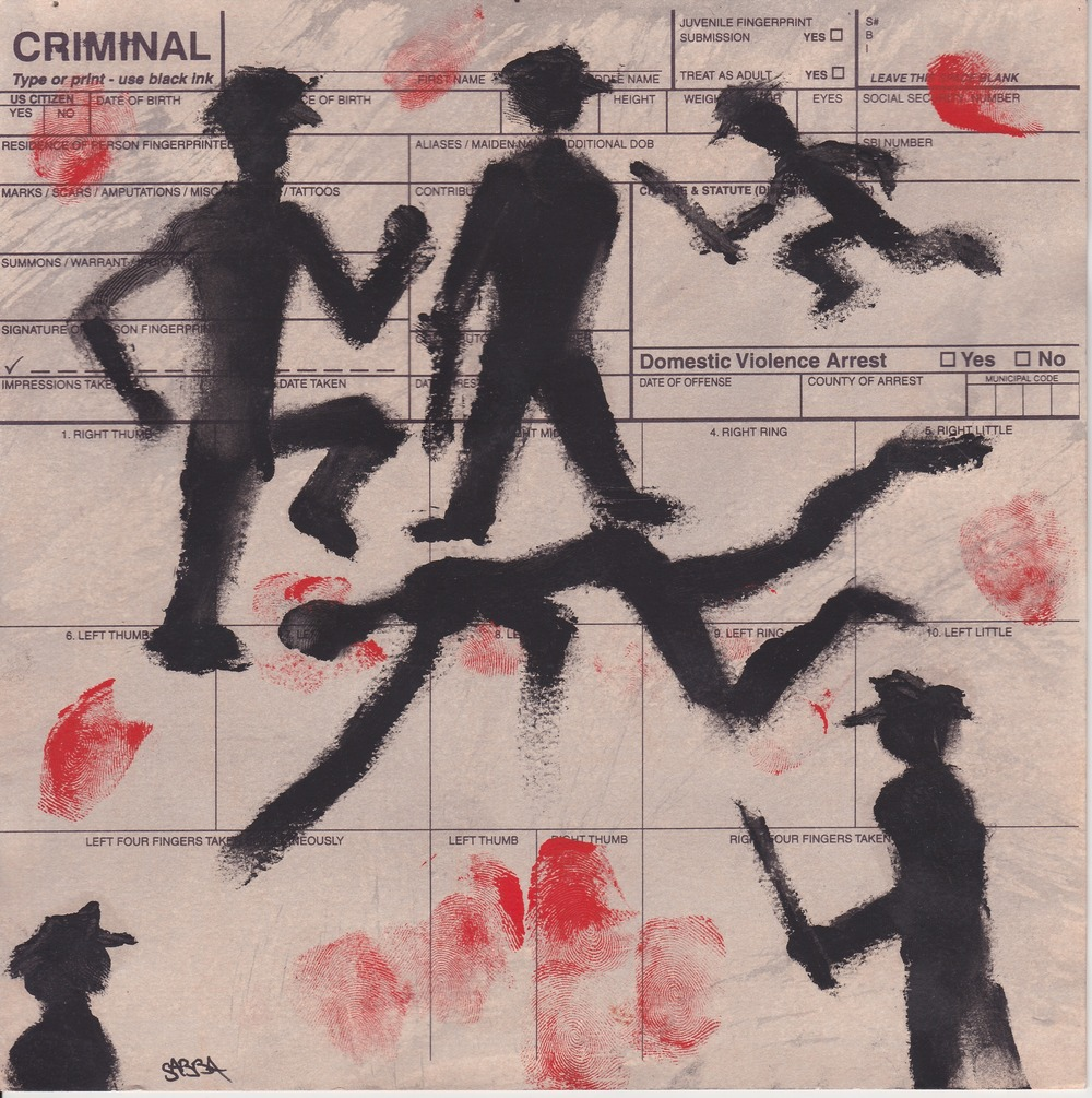 The Killing of Michael. Pastel and fingerprints on police finger prints card. 8 x 8 inches, 2015.