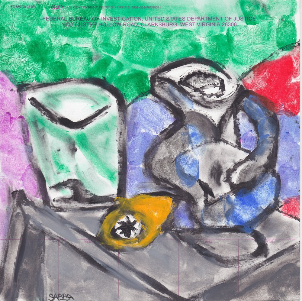 Stolen Picasso- Glass With Jug. Pastel and fingerprints on police finger prints card. 8 x 8 inches, 2015.