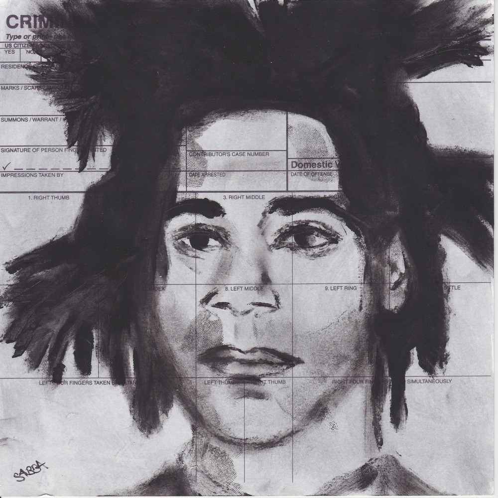 Basquiat. Pastel and fingerprints on police finger prints card. 8 x 8 inches, 2015.