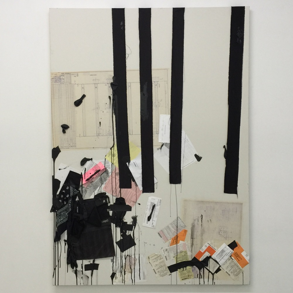Apparatus of Capture, Collage on canvas. 84 x 60 x 4 inches, 2014.
