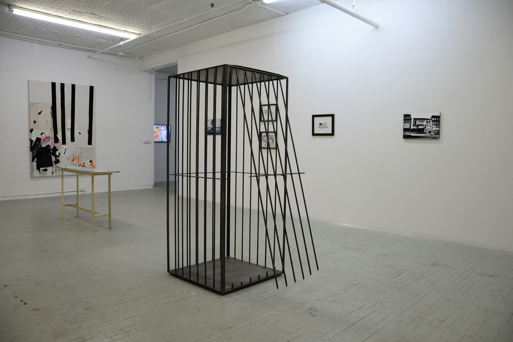 "Cage #1. Mill Finished Steel and Neodymium Magnets (used for performance and cut open by the NYPD on October 25, 2015) 72.5 x 31"" x 31"" inches."