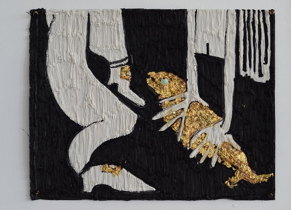 "Summer Wheat. Catching Fish, 2016. Acrylic, gold leaf on aluminum mesh. 23.5""x 19"""
