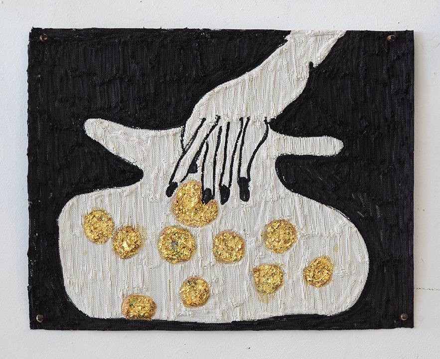 "Summer Wheat. Pot of Gold, 2016. Acrylic, gold leaf on aluminum mesh. 23.5""x 19"""